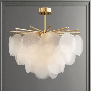 White Round Glass Chandelier