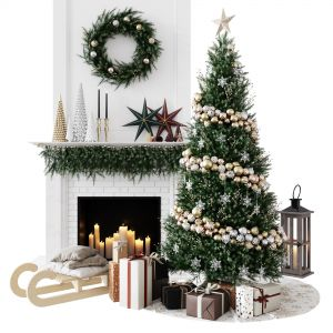 Decorative Set In A Christmas Theme And A New Year
