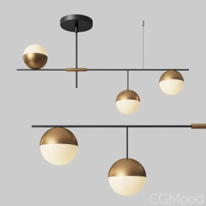 Mid-century Modern 3 Light Linear Ceiling Light In