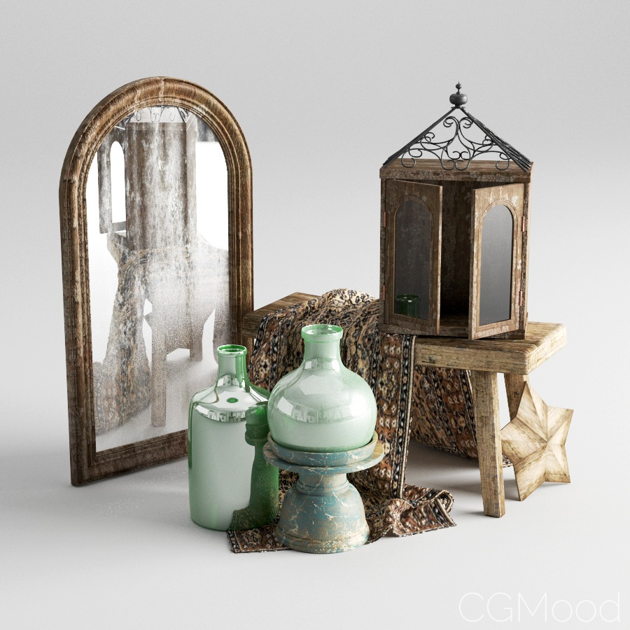 Vintage Decor Set02 - 3D Model for VRay