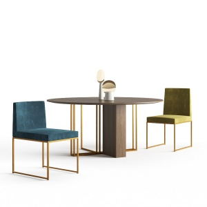 Meridiani - Plinto Round Table and Rider Chairs