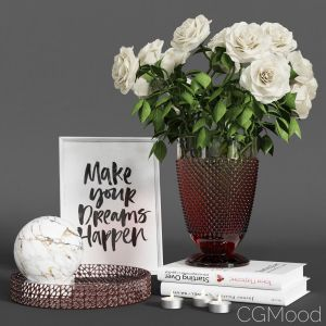 Decorative Set With White Roses