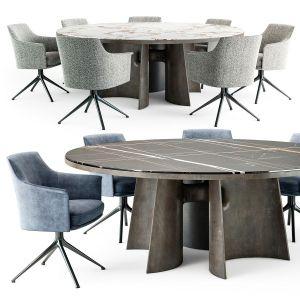 Poliform Kensington Round Table Stanford Chair Set