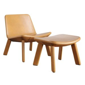 Bludot_neat Leather Lounge Chair&Ottoman