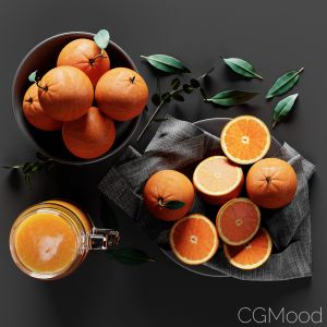 Table Setting With Oranges And Juice