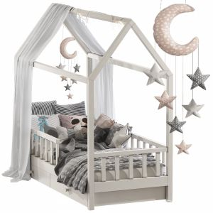 Children's Bed With Columns Set 47