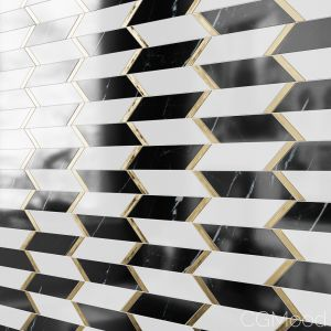 Fitz Classic Marble & Brass Mosaic Tile