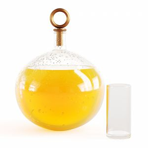 Decanter With Orange Juice With Water Drops