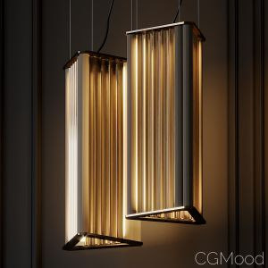 Venicem Numa Pendant Light In Brass And Glass By M
