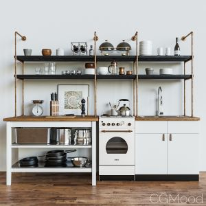 Kitchen Set In A Loft Style
