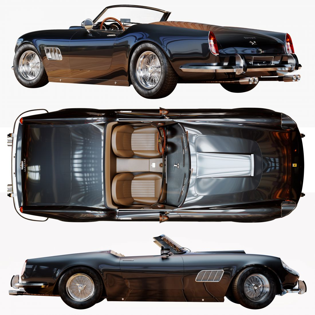 Ferrari 250 Gt Swb California Spyder 3d Model For Corona