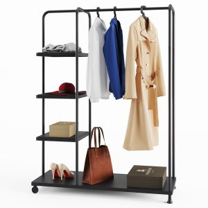 Rack Ikea Kornsjo With Clothes And Accessories