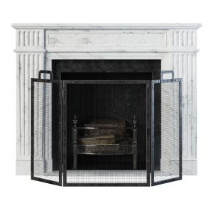 Classic Fireplace White Marble