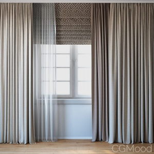 Curtains With Roman Curtain And Tulle Set 02