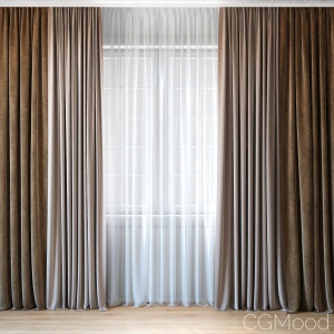 Curtains With Tulle Set 02