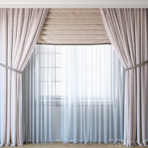 Curtains With Roman Curtain And Tulle Set 03