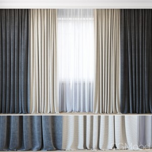 Curtains With Tulle Set 07