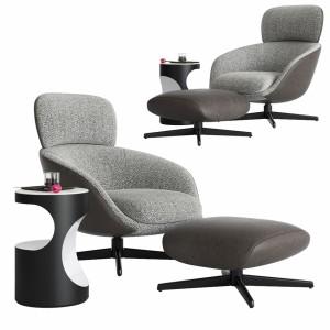 Minotti Russell Arm Chair & Ottoman