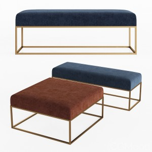 Box Frame Upholstered Bench & Ottoman Westelm