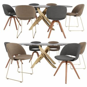 Artistico Table And Polo Covered Chair By Bontempi