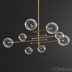 Glass Globe Mobile 8 Arm Chandelier - Gold