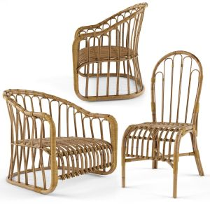 3 Natural Rattan Bamboo Chairs