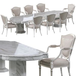 Classic Dining Chair And Marble Table