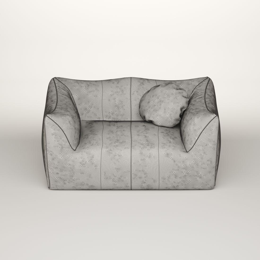 Mario Bellini Leather Sofa - 3D Model for VRay