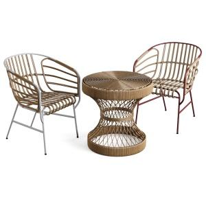 Table Chair Rattan Bamboo Compact Nature Raphia