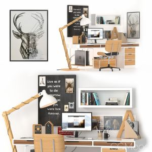Workplace Scandinavian_ikea_wooden