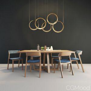 Set - Hoom Diamond Table And Ton Merano Chair