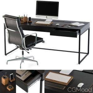 Black Office Desk Set