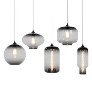 Glass Pendant Lights (5 Pendants + 2 Bulbs)
