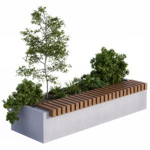 Urban Furniture / Architecture Bench With Plants B