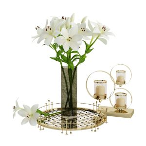 Decorative Set With White Lilies