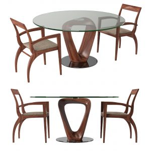 Wood And Circle Glass Table