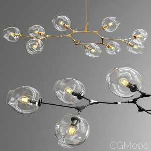Branching Bubble 9 Lamps - Gold And Black Metal