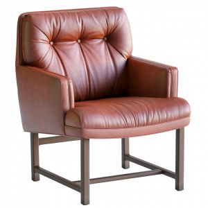 Red Leather Armchair By Edward Wormley