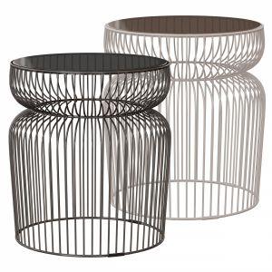 Spoke Glass Metal End Table