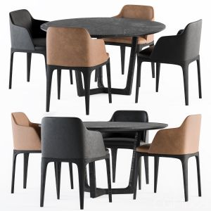 Poliform Dining round Table And Grace Chair