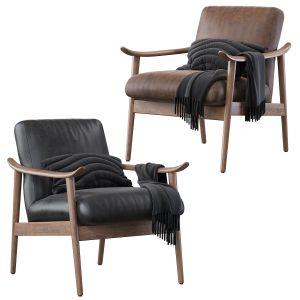 Mid-century Vegan Leather Show Wood Chair