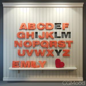 Wood Panel English Alphabet Pink
