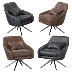 Leather Pleated Swivel Chair