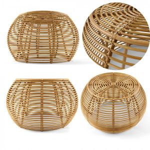 Java Rattan Ottomans From Large