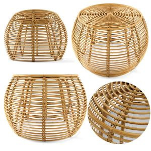 Java Rattan Ottomans Small