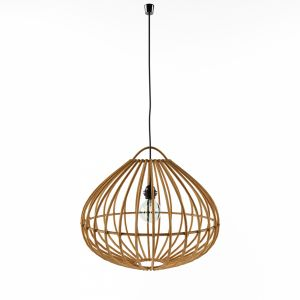 Rustic Hanging Lamp Natural Bamboo Cane Drop