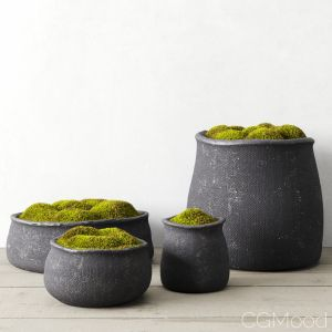 Crosshatch Concrete Vessel Collection With Moss