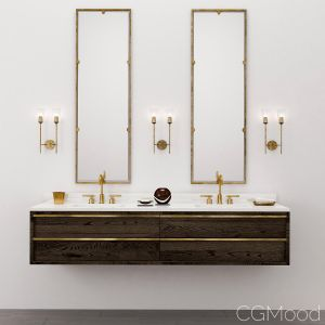 Bezier Double Extra-wide Floating Vanity - Rh