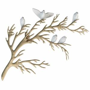 Bijan - Porcelain Birds On Brass Branch Wall
