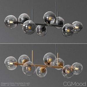 Staggered Glass Chandelier 8 Light